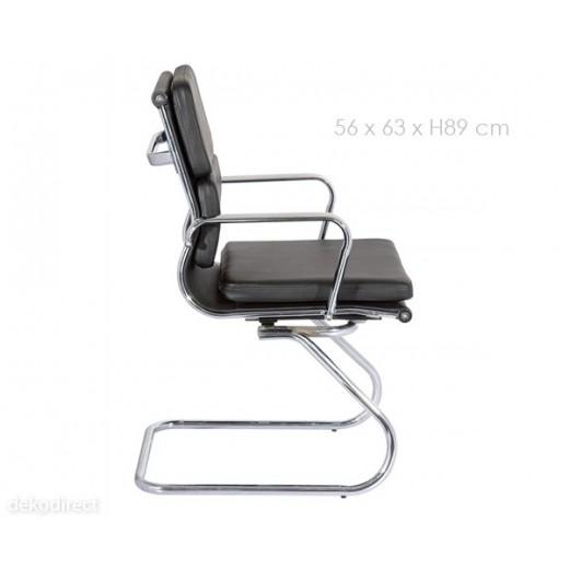 """Silla oficina Eames """"confidente"""" acolchada negra 107"""
