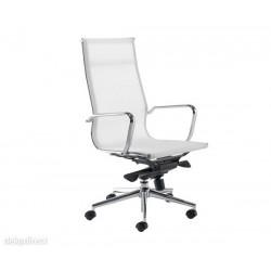 Silla oficina,117-A,alta,malla blanca,doble mando,Aluminium Eames