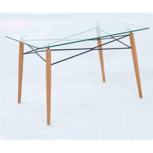 Mesa cristal y patas madera 120x80 glasgow dekodirect for Mesa cristal exterior