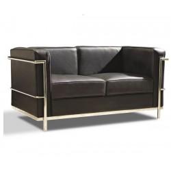 Sofá Le Corbusier 2 plazas piel negra CROM  LC2