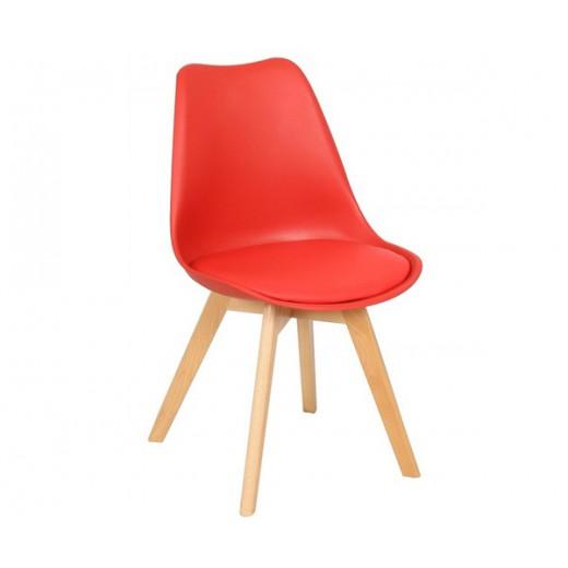 Silla Wood Tulipa roja