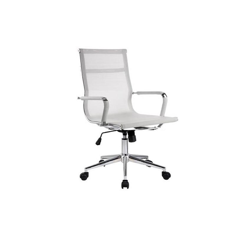 silla oficina eames aluminium 117b baja malla blanca