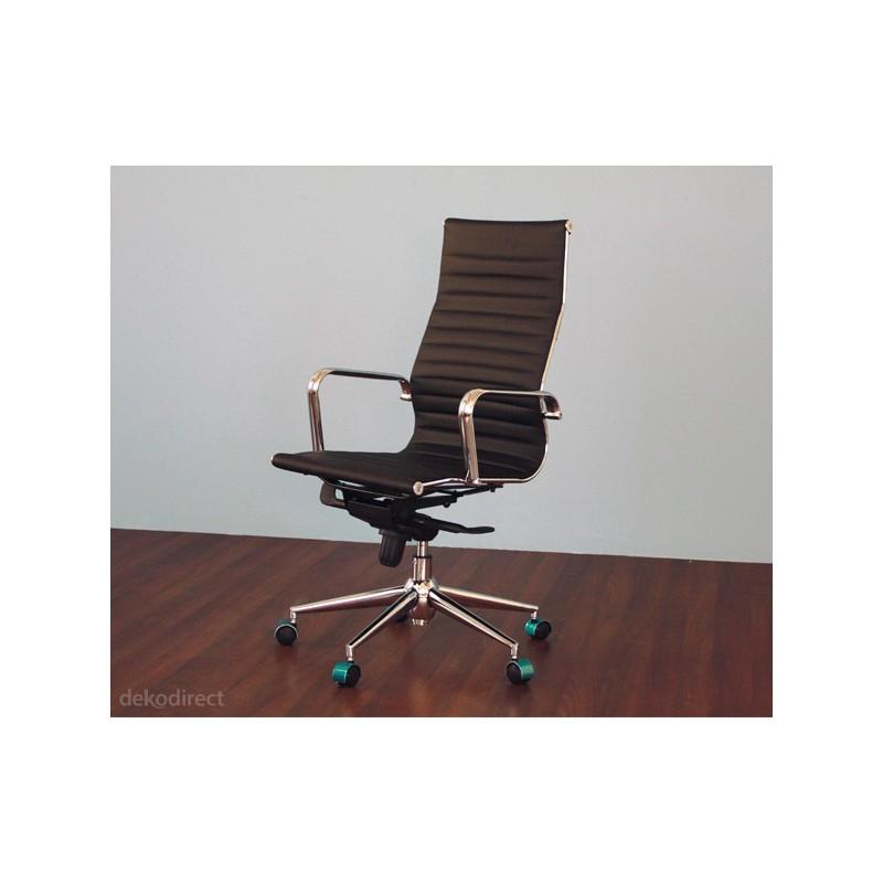 Silla de oficina eames aluminium 119a alta similpiel blanca for Sillas de piel blancas