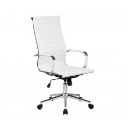 Silla oficina Eames similpiel blanca 119B  Aluminium