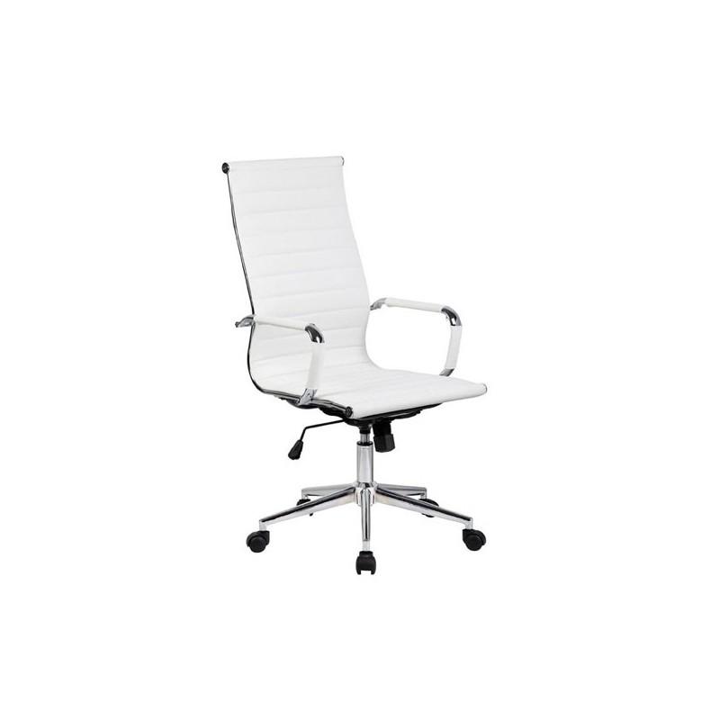 Silla oficina similpiel blanca a 119 alta aluminium - Silla oficina alta ...
