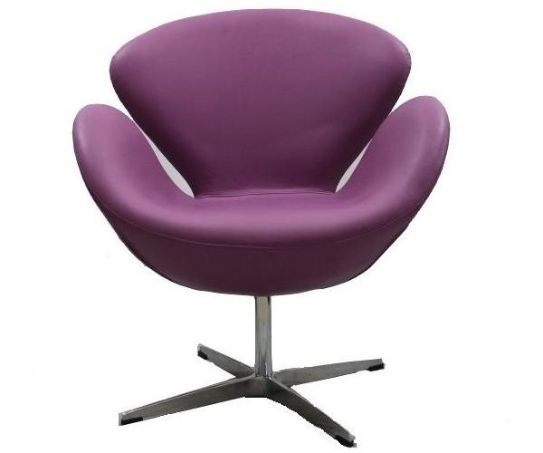 Sillón Swan de Jacobsen púrpura Serie B no giratorio