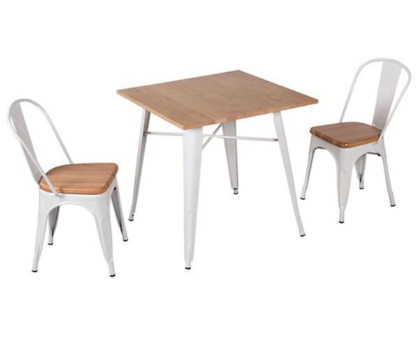Mesa de comedor cuadrada Tolix tapa de madera