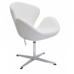 Sillón Swan Jacobsen similpiel blanco